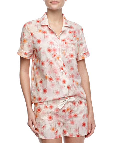 Eloise Cotton Dandelion-Print Shorty Pajama Set