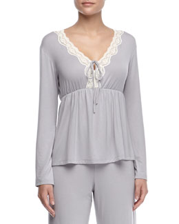 Eberjey Lady Godiva Contrast-Lace Long-Sleeve Top