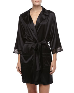 Else Lingerie  Giverny Boyfriend Silk Half-Sleeve Robe