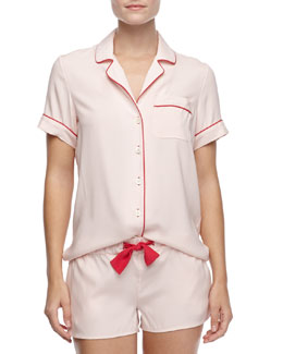 Three J New York Belle Silk Short Pajamas, Pale Pink