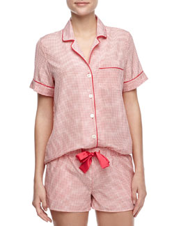 Three J New York Belle Check Silk Short Pajamas, Pink