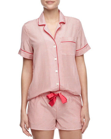 Belle Check Silk Short Pajamas, Pink