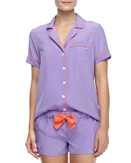 Three J New York Belle Silk Short Pajamas, Purple