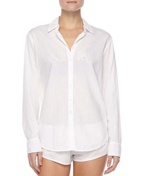 Poplin Button-Down Sleep Shirt