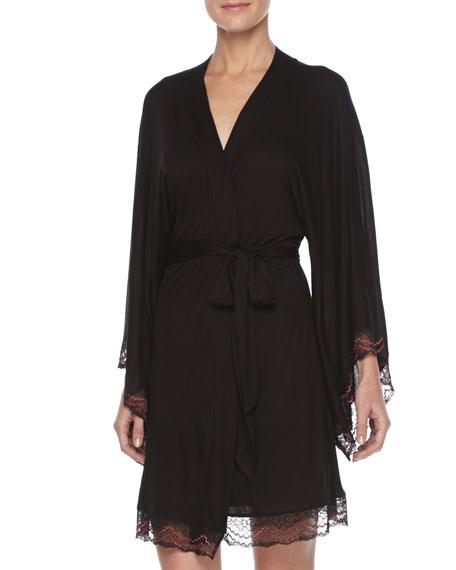 Mae Lace-Trim Kimono Robe