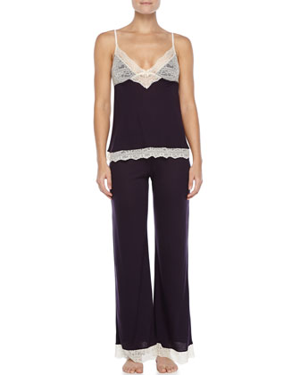 Hannah Lace-Trim Lounge Pants, Eggplant