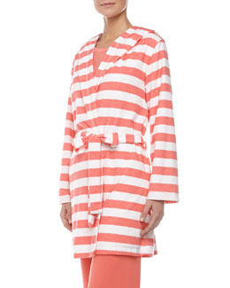 Splendid Intimates Rugby Stripe Terry Robe, Coral