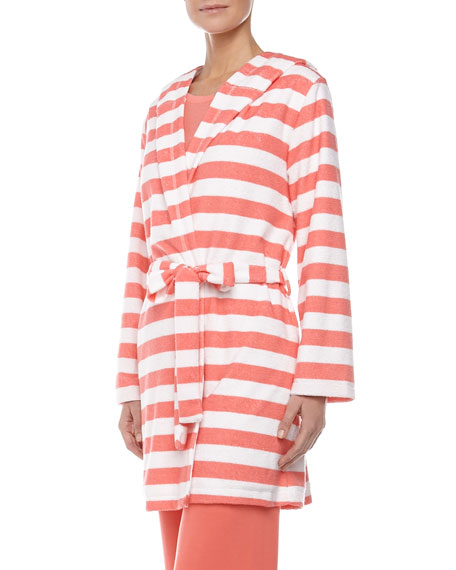 Rugby Stripe Terry Robe, Coral