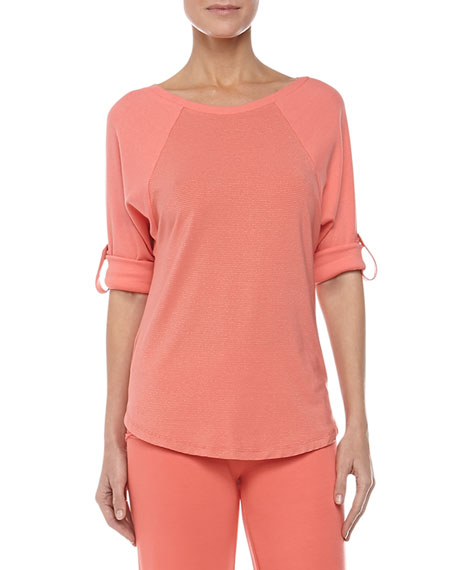 Ribbed Baseball Tee, Coral