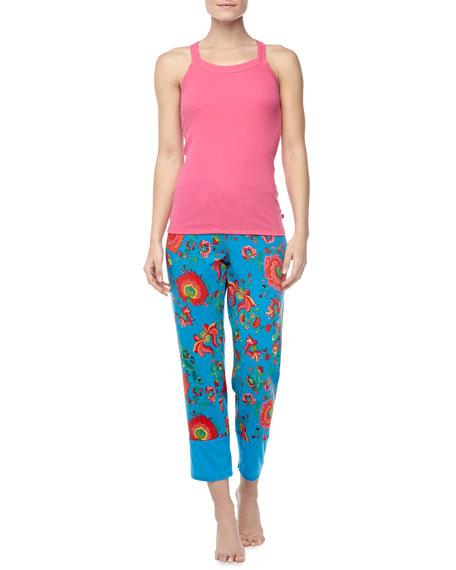 Jersey Floral-Print Crop Lounge Pants