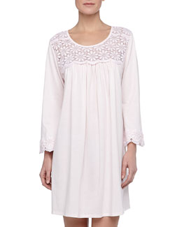 Oscar de la Renta Long-Sleeve Floral-Yoke Short Nightgown