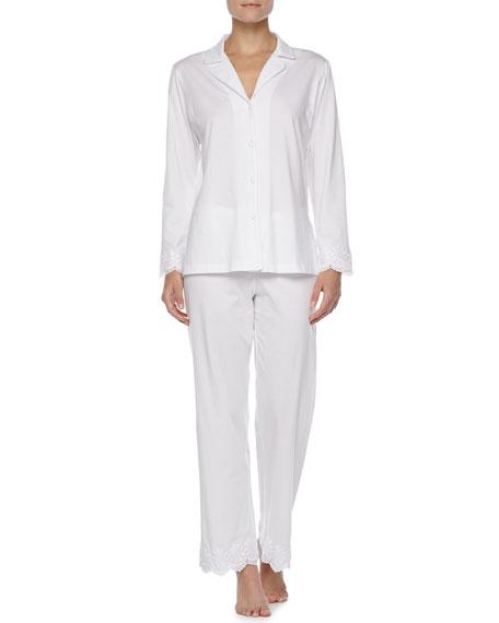 Pima Button-Front Pajamas, White