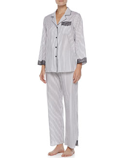 Oscar de la Renta Striped Lace-Trim Pajamas