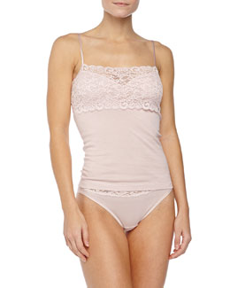 Hanro Luxury Moments Lace-Front Cami, Pale Mauve