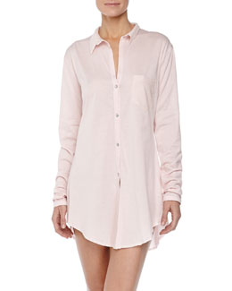 Hanro Carrie Boyfriend Sleeping Shirt, Crystal Pink