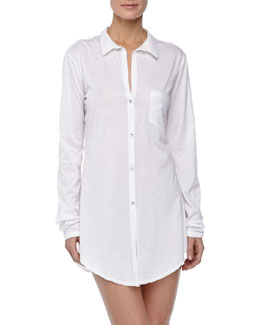 Hanro Carrie Boyfriend Sleeping Shirt, White