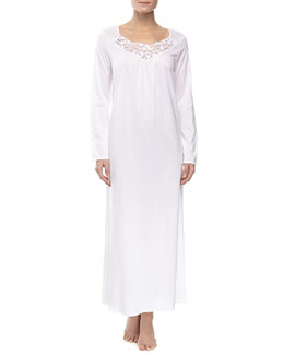 Hanro Filipa Long-Sleeve Long Gown, White