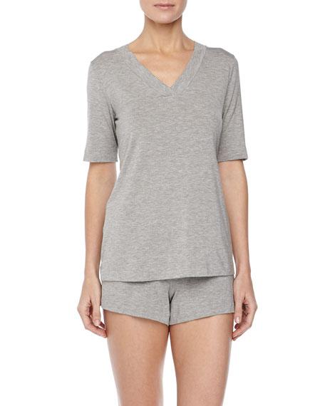 Champagne Short Pajamas, Gray Melange
