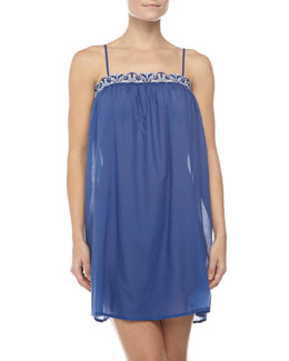 Hanro Delfina Embroidered Chemise, Vibrant Blue