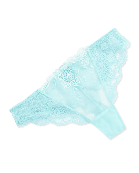 Insomnie Floral Lace Tanga Thong, Sky Blue
