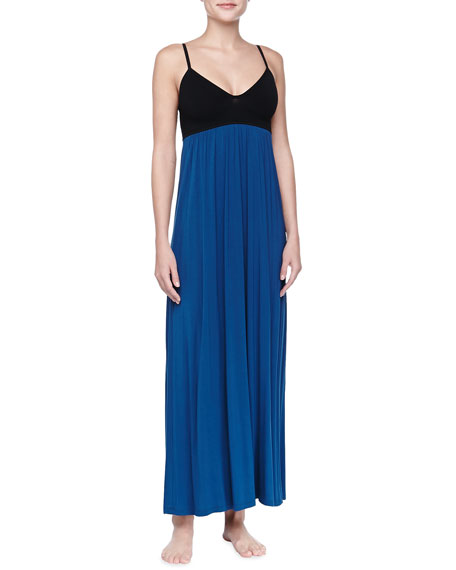 Liquid Jersey Long Gown, Mazarine Blue