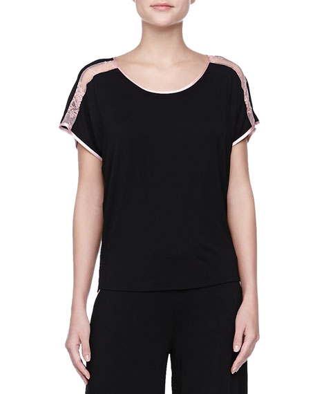 Short-Sleeve Silk & Lace Trim Top, Black