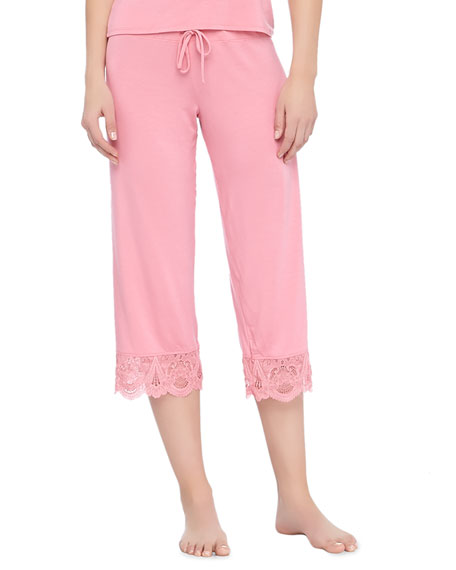 Epoque Cropped Lace-Cuff Pajama Pants, Rose Coral