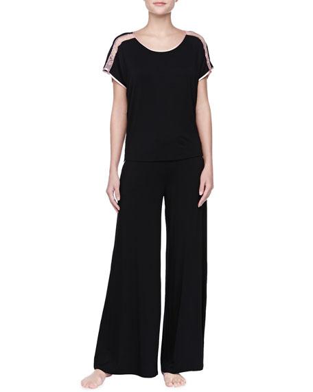 Silk Trim Wide-Leg Pants, Black