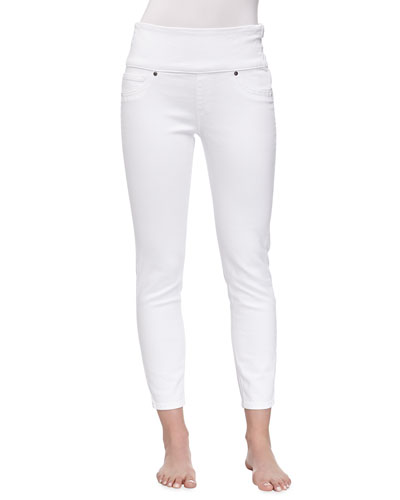 Spanx Cropped Denim Control-Top Leggings, White Wash
