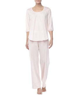 Hanro Vanessa 3/4-Sleeve Pajama Set, Tender Rose