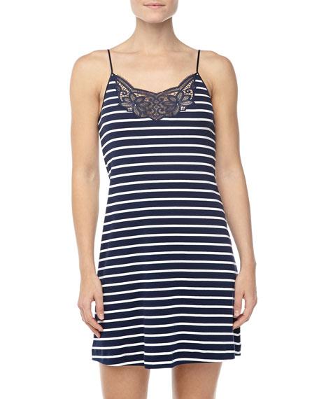 Laia Striped Lace-Trim Gown