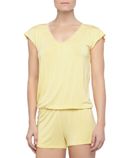 La Perla Rosa Short Lace Knit Jumpsuit, Limon
