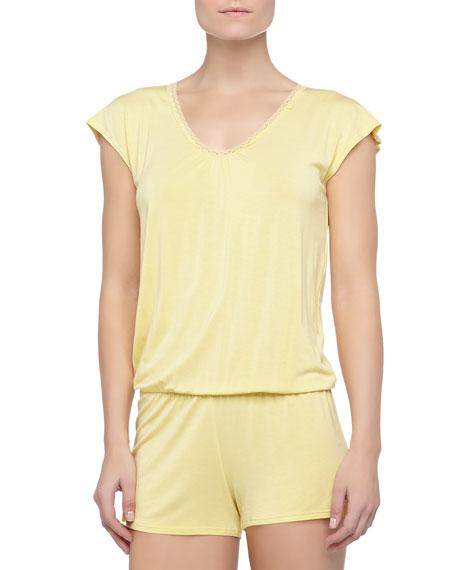Rosa Short Lace Knit Jumpsuit, Limon