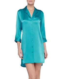 La Perla Dolce Satin Sleepshirt, Kingfisher Teal