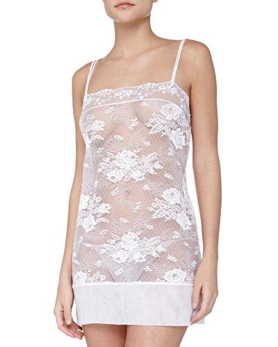 La Perla Maharani Sheer Lace Chemise, White