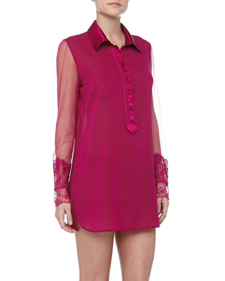 Maharani Lace Detailed Satin Sleepshirt, Fuchsia