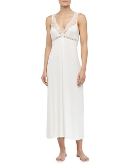 La Perla Niloufer Long Lace Tank Gown, Natural