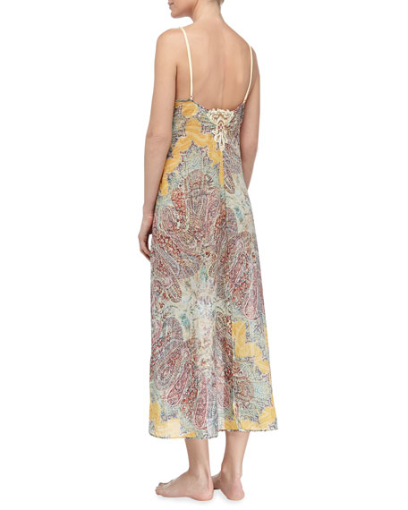 Long Paisley Print Voile Gown, Yellow Fantasy