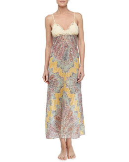 La Perla Long Paisley Print Voile Gown, Yellow Fantasy