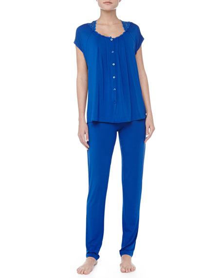 Niloufer Short-Sleeve Lace-Trim Pajamas, Blue
