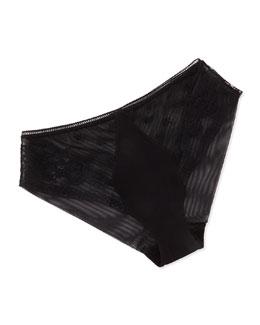 La Perla Saree Embroidered Tulle Briefs, Black