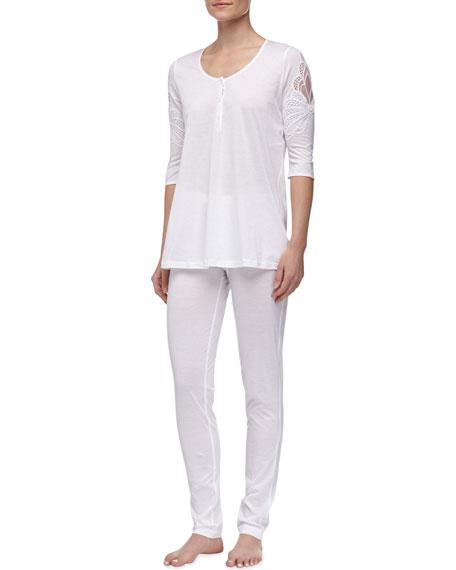 Maya Floral Accented Pajamas, White