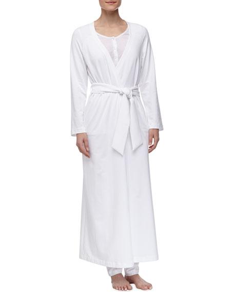 Maya Long Stretch Knit Robe, White