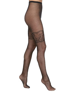 Alice + Olivia Lace-Border Fishnet Tights by Pretty Polly