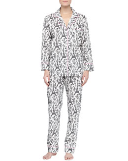 Bedhead Eiffel Tower-Print Knit Pajamas, Black/Cream