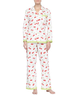 Bedhead Cherry Cotton Ribbon PJs, Ivory