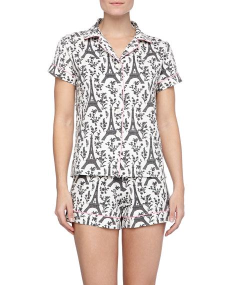 Eiffel Tower-Print Knit Pajamas, Black Cream