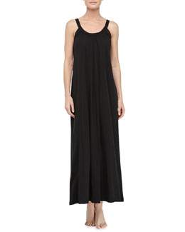 Donna Karan Pima Cotton Relaxed Long Nightgown, Black