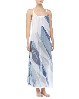Donna Karan Batiste Geometric Print Long Gown, Shattered Quartz
