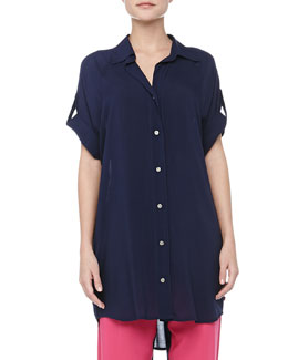 Josie Bank Chic Tab-Sleeve Sleepshirt, Midnight Navy